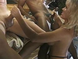 Busty Blonde Chennin Gives Messy Handjobs