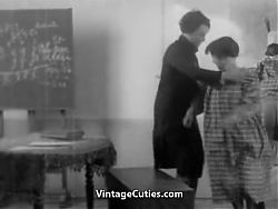 Hairy Hottie Fucks for a Good Grade (1920s Vintage)