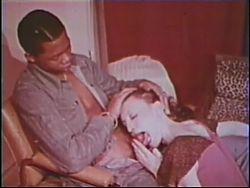Skinny white girl devours huge black dick - vintage